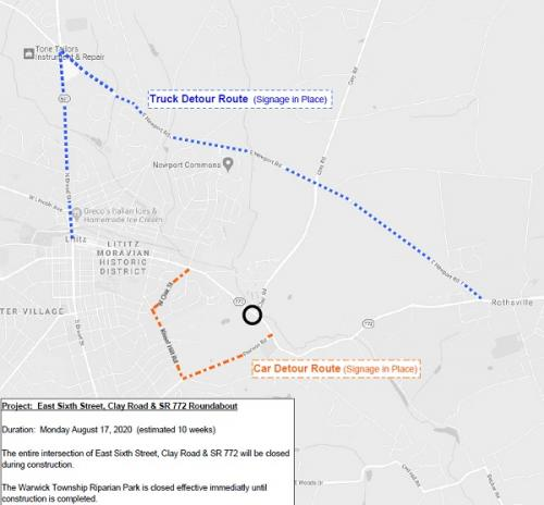 Clay Road Roundabout Detour beginning 8/17/2020 image