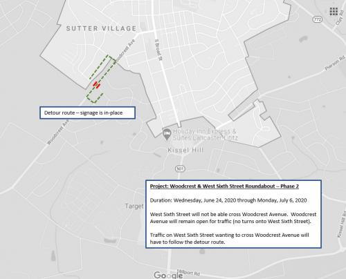 Woodcrest Avenue Roundabout Detour 6/24/2020-7/6/2020