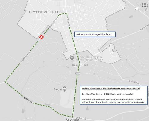 Woodcrest Avenue Roundabout Detour beginning 7/6/2020